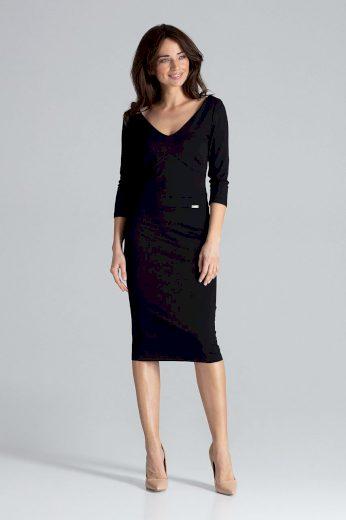 Klasické jednobarevné pouzdrové šaty K476 LENITIF