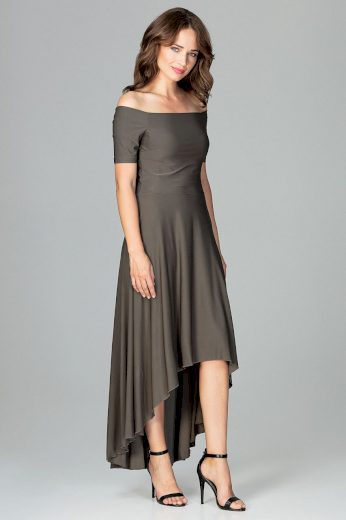Večerní midi šaty s asymetrickou spodní části K485 LENITIF