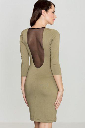 Pouzdrové šaty se šifonovou vložkou K317 LENITIF