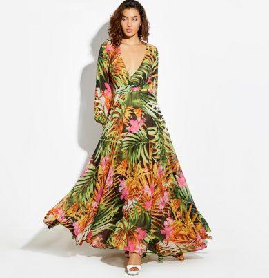 Dámské dlouhé šaty s rukávy FashionEU