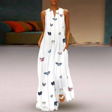 Dlouhé šaty s motýly FashionEU
