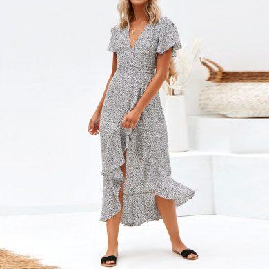 Letní midi šaty s rozparkem FashionEU