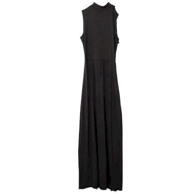 Dlouhé černé šaty s rozparky FashionEU