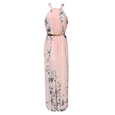 Letní maxi šaty růžové FashionEU