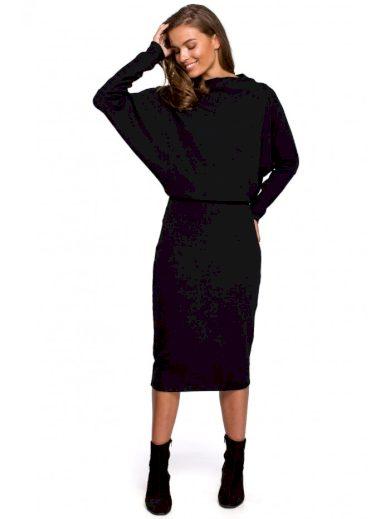 Pletené šaty s přehozeným výstřihem STYLE S245