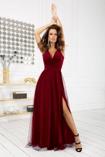 Společenské dlouhé šaty bez rukávů s puntíky - BORDO L
