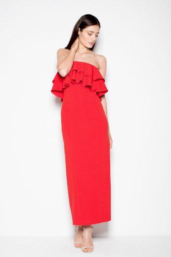 Elegantní maxi šaty s volánky ve výstřihu VT089 VENATION