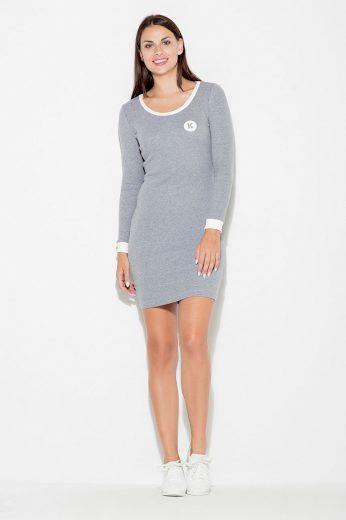 Šaty s dlouhým rukávem z pohodlné bavlny K452 KATRUS