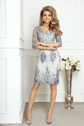 Cleo Vypasované šaty krajkové Guipure IMESIA - ŠEDÉ XS
