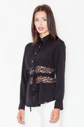 Elegantní košile dámská s krajkou M473 Black FIGL