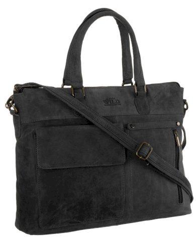 Pánská kožená taška na notebook s kapsami a popruhem přes rameno - Always Wild