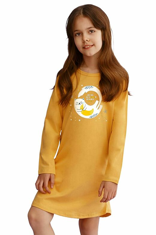 Dívčí košilka Sarah žlutá s kočičkou