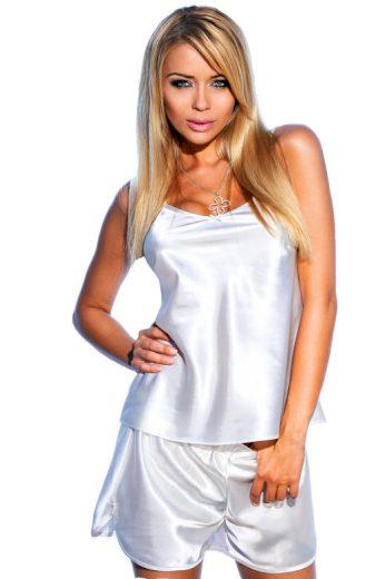Saténové pyžamo Venice bílé