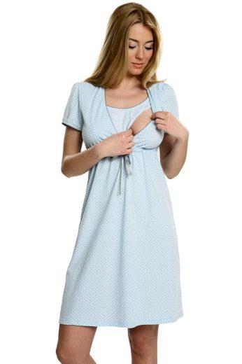 Bavlněná těhotenská noční košile Felicita modrá