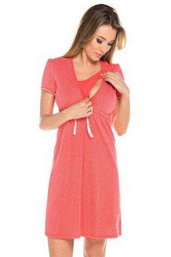 Bavlněná těhotenská noční košile Alena korál
