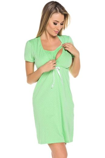 Bavlněná těhotenská noční košile Alena zelená
