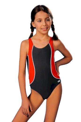 Plavky dívčí Otýlie šedočervené