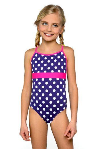 Plavky dívčí jednodílné Jolana bílé puntíčky