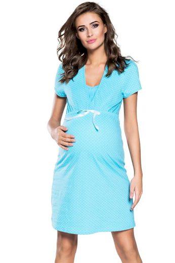 Těhotenská a kojicí noční košile Alena modrá