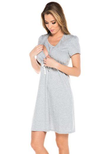 Bavlněná těhotenská noční košile Alena šedá