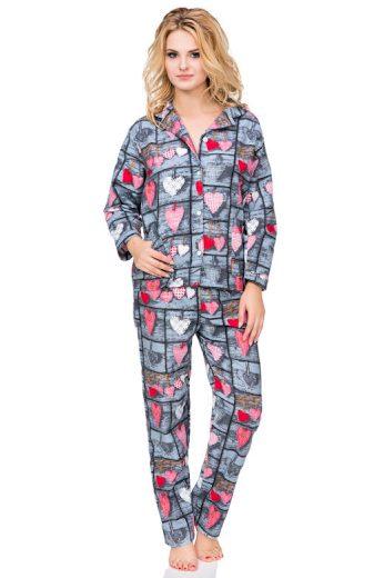 Flanelové kostkované pyžamo Wally s knoflíky
