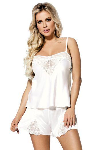 Bílé saténové pyžamo Zala