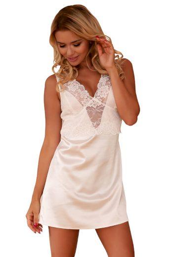 Saténová noční košilka Merida bílá