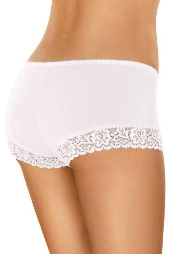 Bavlněné krajkové kalhotky s nohavičkou 55 bílé