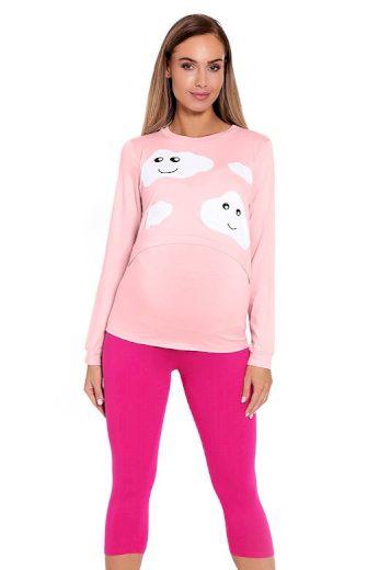 Kojicí a těhotenské pyžamo Melany růžové s obláčky