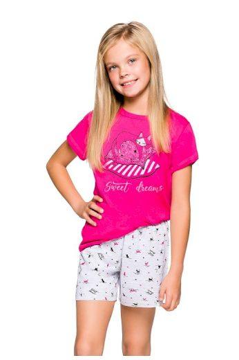 Dívčí pyžamo Hanička růžové s kočičkou