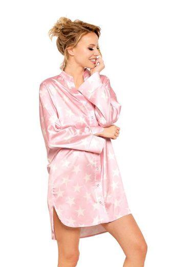 Saténová noční košile Alicia růžová s hvězdami