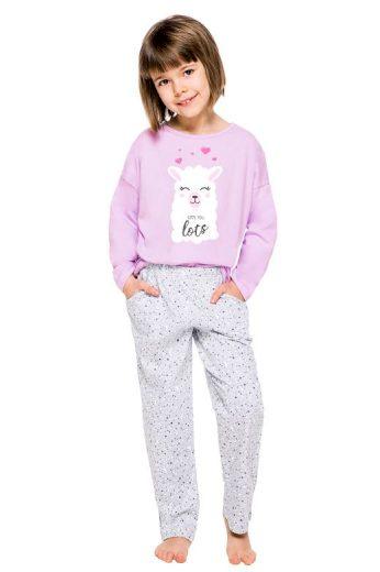Dívčí pyžamo Sofie fialové s potiskem lamy