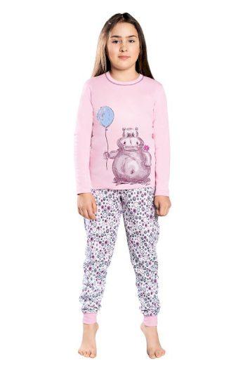 Dívčí pyžamo Lira růžové hroch