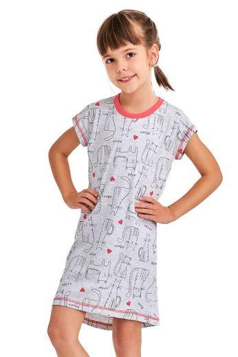 Dívčí noční košile Pepa cat šedá