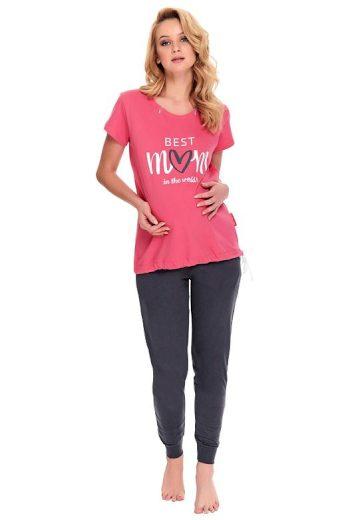 Kojicí a těhotenské pyžamo Best mom růžové