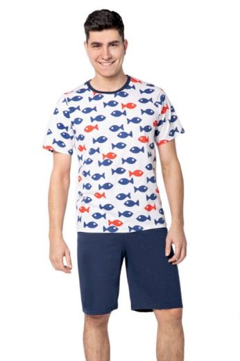 Pánské pyžamo Edward bílé rybky