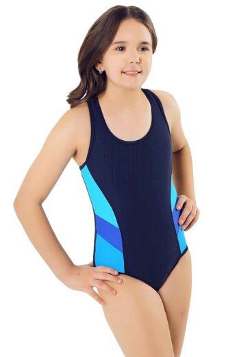 Jednodílné dívčí plavky Lia tmavě modré pruhy
