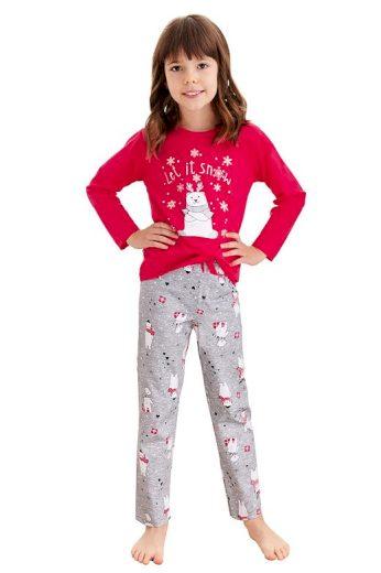 Dívčí pyžamo Maja červené méďa a vločky