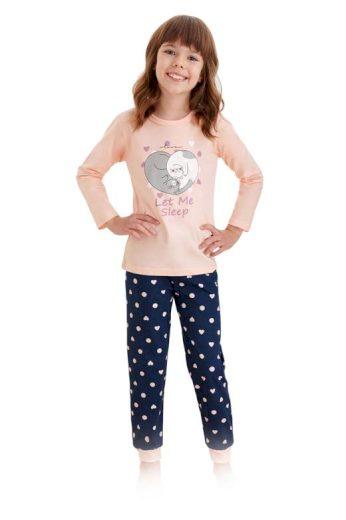 Dívčí pyžamo Elza meruňkové s kočkami
