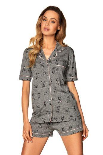 Dámské propínací pyžamo Corina šedé buldok