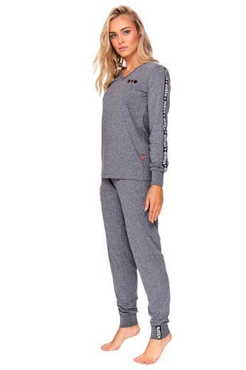 Dámské pyžamo Dory šedé se srdíčky