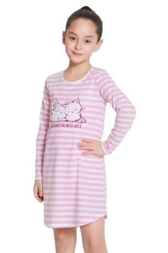Dívčí noční košile Kitty růžová s pruhy
