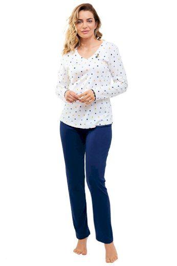 Dámské pyžamo Lila bílé s puntíčky