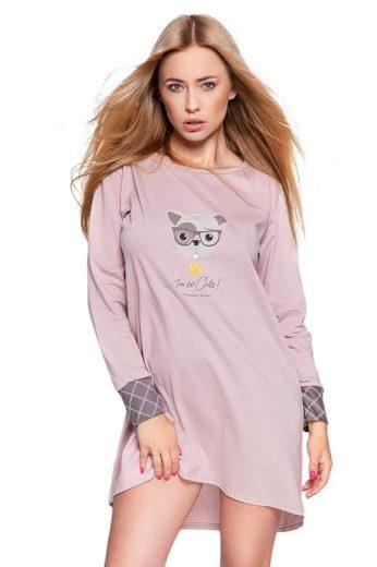 Dámská noční košile Perro starorůžová s potiskem pejska