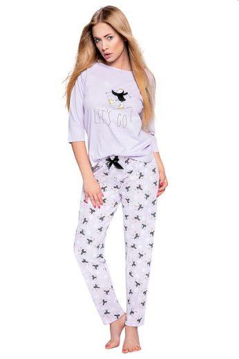 Dámské pyžamo Ellie světle fialové s tučňáky