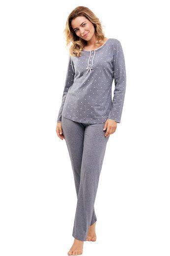 Dámské pyžamo Clara šedé s puntíky