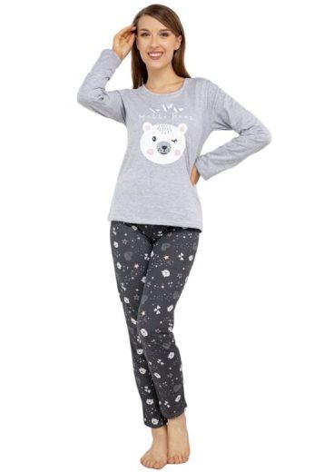 Veselé pyžamo Hello bear šedé
