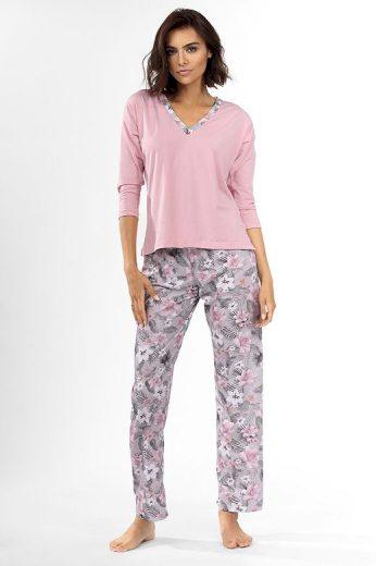 Dámské pyžamo Delisa světle růžové s květinami