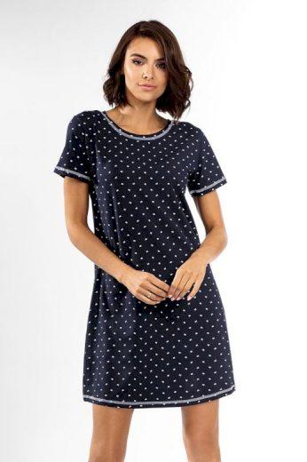 Dámská noční košilka Eleanora tmavě modrá s mašličkami