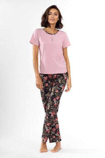 Dámské pyžamo Madie růžové s květinami